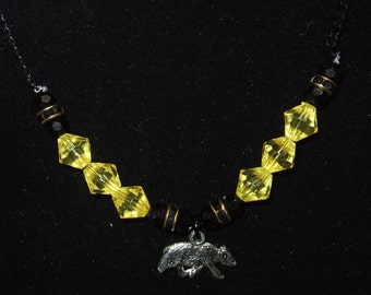 Hufflepuff Yellow & Black Necklace (H4)