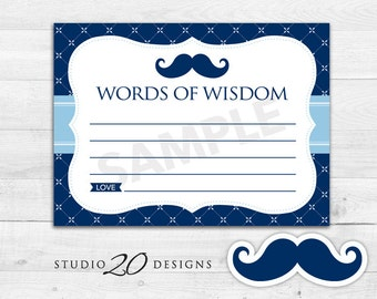 Instant Download Navy Mustache Advice Cards, Printable Moustache Words of Wisdom, Blue Mustache Baby Shower Games, Advice for Mom To Be 27B