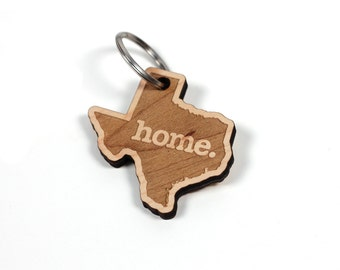 Texas Home Key Charm by State Apparel: Laser Engraved Wood Keychain, TX