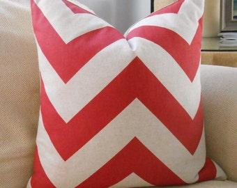 Chevron Pillow Cover Premier Prints Zippy Timberwolf Red & Oatmeal