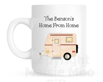 Personalised Caravan Ceramic Gift Mug ~ Second Home or Home From Home