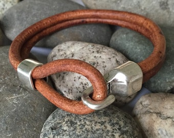 Tan Double Strand Braided Leather Bracelet with Chunky Hook Clasp, Leather Bangle, Silver Clasp and Tan Leather, Men's Leather Bracelet
