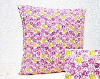 "Handmade 16""x16"" Cotton Cushion Pillow Cover in Mauve/Pink/Lime Colourful Pico Flower Dulce Brasil Design Print"