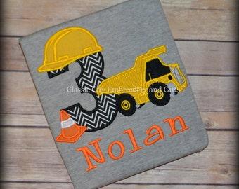 GRAY dump truck construction birthday shirt with cone, first birthday, second birthday, third birthday, fourth birthday