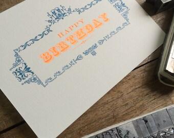 Letterpress typeset birthday card