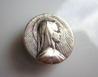 "RARE antique button with religious  medal, Virgin Mary, 0.50"""