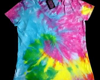 Pastel Spiral V Neck Tie Dye Shirt 9 oz