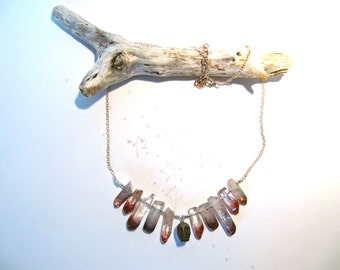 The Seeker: lepidocrosite included quartz point and pyrite skull necklace