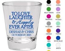 Wedding Favor Shot Glasses (Clipart 1416) Love Laughter Happily Ever After - Wedding Favors - Personalized Glassware - Custom Shot Glasses