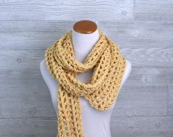 Long Yellow Womens Scarf, Pale yellow,  Crochet