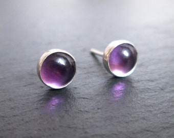 Amethyst Stud Earrings - Amethyst Studs, Gemstone Earrings, Purple Studs, Gift Jewellery, Gifts for Her, Christmas Gift
