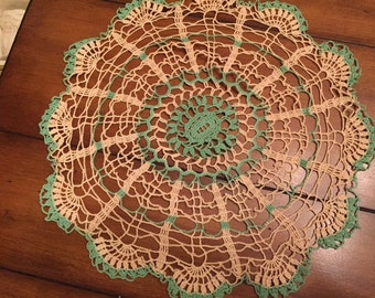 Mint Green and Ivory Doily