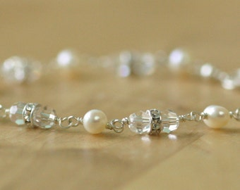 Crystal and pearl bracelet, bridal jewelry, Swarovski crystal bracelet, freshwater pearl bridal bracelet - Claudia