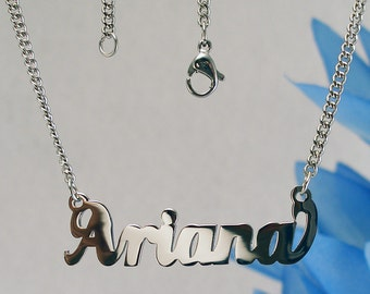 Ariana name necklaces. stainless steel. next day ship. never tarnishes. shiny silver color