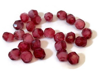 Faceted Pomegranate Czech Beads 6mm 12pcs