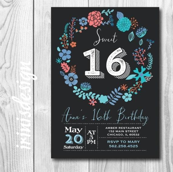 Items Similar To Printable Sweet 16 Birthday Invitation Chalkboard