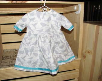 Gray & White Bird Dress for 18 inch doll with turquoise ribbon