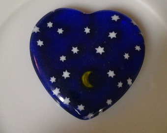 Moon and Stars Cobalt Blue Heart Station Bead