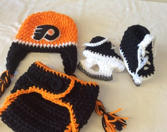 Baby Crochet Hockey Earflap Hat, Diaper Cover, and Skate Booties - Philadelphia Flyers