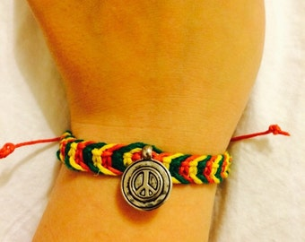 Rasta Macrame Hemp Peace Sign Bracelet, Adjustable