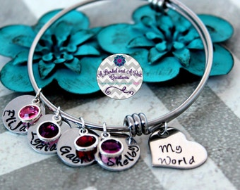 Custom Hand Stamped Grandmother/Mother adjustable bangle bracelet with birthstones