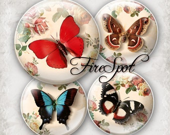 Vintage Butterfly-Digital Collage Sheet 1.5 inch,1.25 inch,30 mm,1 inch,25 mm Round Printable Download,Glass Pendants,animal,Scrapbooking