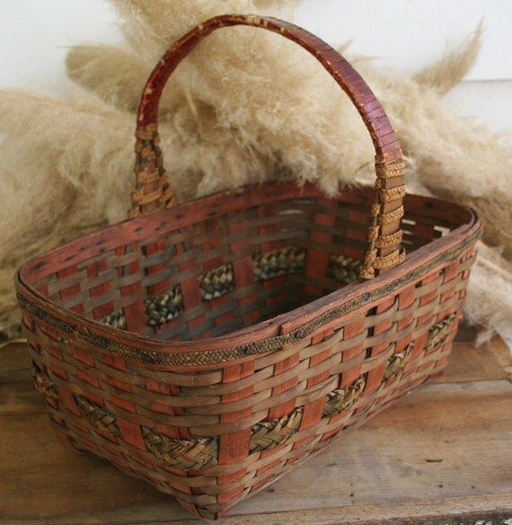 How To Weave A Basket Out Of Reeds : Vintage rectangular split reed woven basket by pastclassics