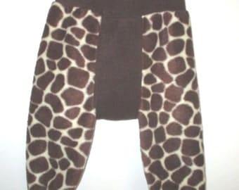 GIRAFFE -  Fleece Longies (Flongies), Pull-up Fleece Cover - Medium - So Soft, So Cute - AUSTRALIAN MADE