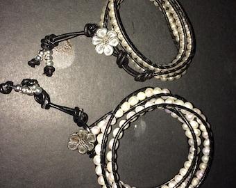 Handmade to order mother and daughter leatger wrap bracelet set