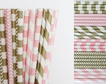 Pink and Gold Paper Straw Mix-Pink Straws-Gold Straws-Striped Straws-Mason Jar Straws-Chevron Straws-Party Straws-Drinking Straws