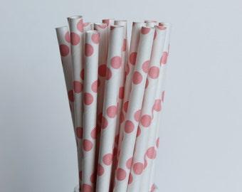 Coral Polka Dot Paper Straws-Mason Jar Straw-Polka Dot Straws-Wedding Straws-Coral Drinking Straws-Baby Shower Straws-Birthday Party Straw-