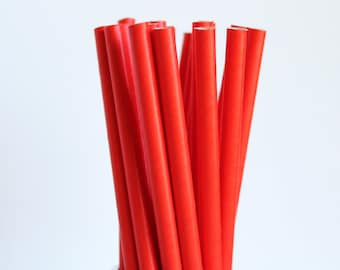 Red Solid Paper Straws-Red Straws-Valentines Day Straws-Party Straws-Wedding Straws-Mason Jar Straws-Shower Straws-Cake Pop Sticks