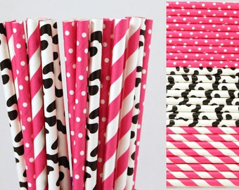 Hot Pink Cow Print Paper Straw Mix-Girl Farm Birthday Party Straws-Pink Striped Paper Straws-Cow Print Paper Straws Polka Dot Straws Cowgirl