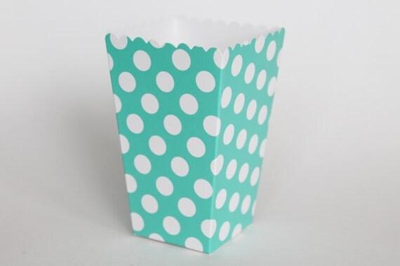 Aqua Blue Polka Dot Popcorn Box-Pop Corn Scoop-Aqua Favor ...