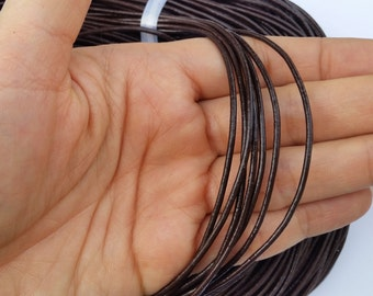 1.5mm Brown Leather Cord, Genuine Leather, Brown Cord, Leather Jewelry Supplies,Brown Leather Cord, 1, 5, 10, 25, 50 Yards