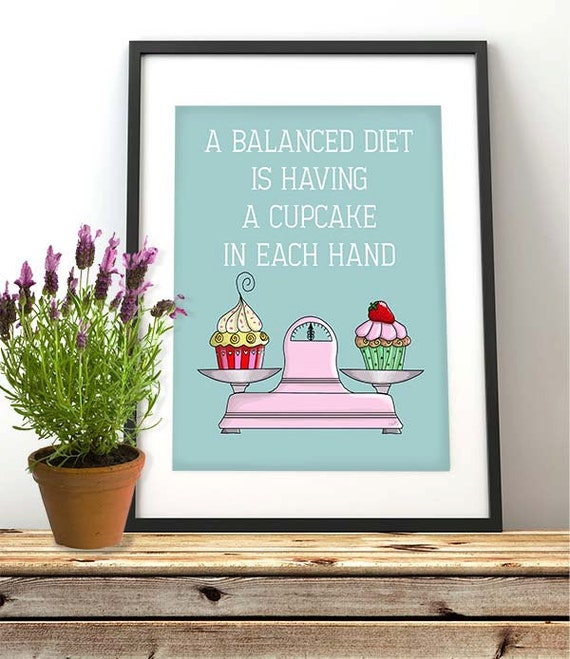 Kitchen décor - Balanced Diet Cupcake  - gift for chef food illustration kitchen wall décor gastronomy kitchen art Country kitchen décor
