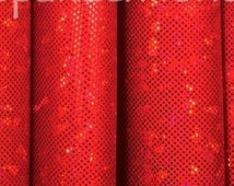 "3"" x 28/30"" Red Shatter Glass Holographic Fabric Make your Own Cheer Bow"