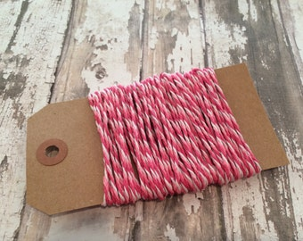 10 Yards Tri-Color Pink (Light Pink, Dark Pink and White) Baker's Twine, Valentine's Day Twine, Baby Girl Twine, Pink Pink Pink!