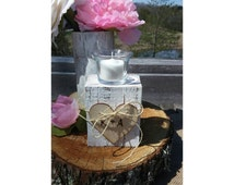 Wedding Centerpiece Candle Holder With Votive Candle Shabby Distressed Pallet Wood With Your Initials On Wood Heart