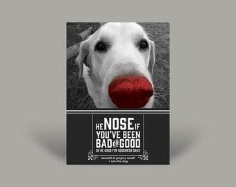 "PRINTED Photo Christmas Invitation Card -  Pet Christmas Greetings - HE ""NOSE"" if ..."