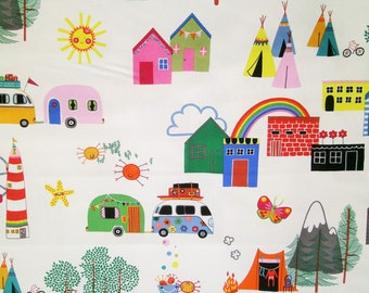 "0,5 m Printed cotton fabric ""Camping"" 115 cm br."