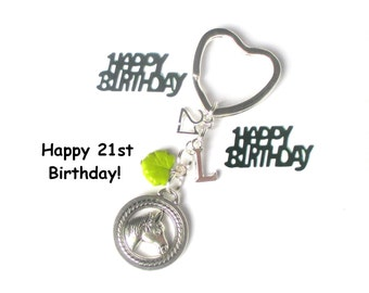 21st birthday gift - Horse keychain - Personalised keyring - Horseriding gift - 21st gift for sister, friend, daughter,  - 21st  keychain