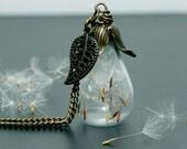 Dandelion teardrop necklace Alice in wonderland Vintage shoots nature glass bottle real flower make a wish