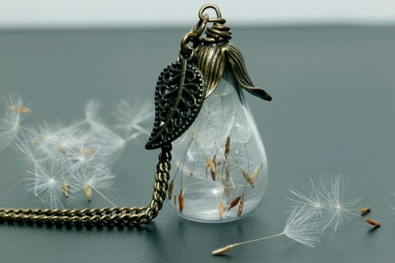 Dandelion teardrop necklace Alice in wonderland Vintage shoots nature glass bottle real flower make a wish