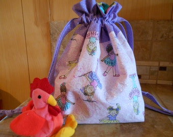 Lined Little Ballerinas Drawstring Bag