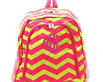Personalized Backpack Monogrammed Bookbag Chevron Pink Lime Green Large Full Size Canvas Kids Tote School Bag Embroidered Monogram Name