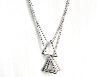 silver triangle two-piece necklace