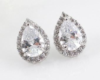 Adrienne - Bridal Teardrop Earrings, Bridal CZ Stud Earrings, Crystal Earrings, Halo Stud Earrings, Cubic Zirconia, Bridesmaids Earrings