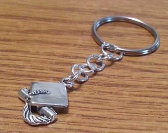 Silver Graduation Keychain, 3 Dimension, Front and Back, Small Graduation Gift, Little Graduation Present