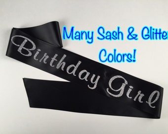 Glitter Birthday Girl Sash, Custom Sash, Birthday Sash, 21, Birthday